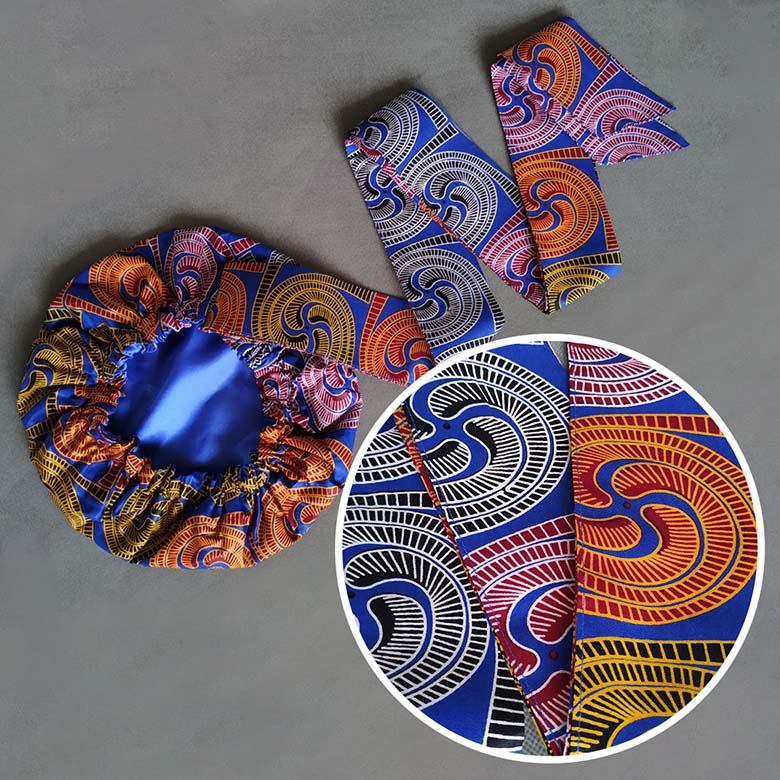 African Print Satin-Lined Twisted Vortex Cotton Headwrap