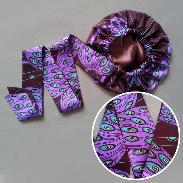 African Print Satin-Lined Purple Peacock Headwrap