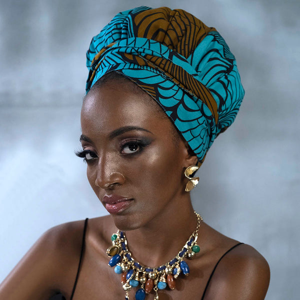 African Print Satin-Lined Beauty Melon Headwrap