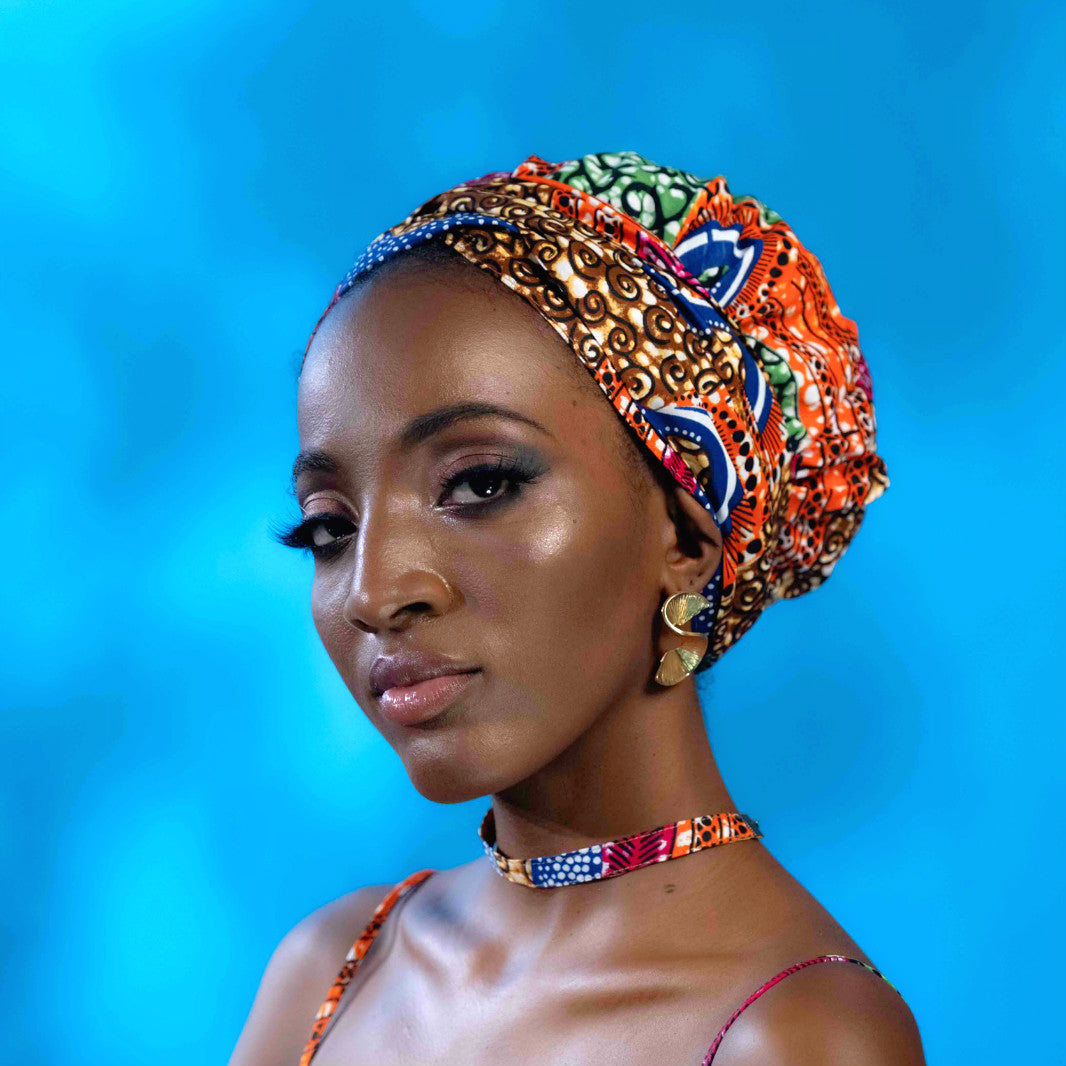 African Print Satin-Lined Colorful World Headwrap