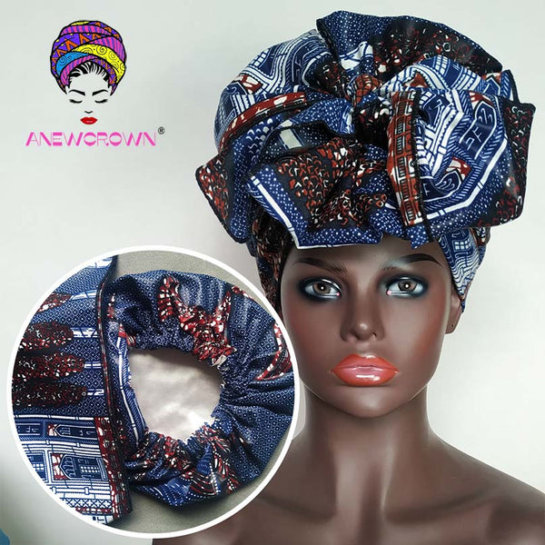 African Print Satin-Lined Rainy Street Wide Band Headwrap