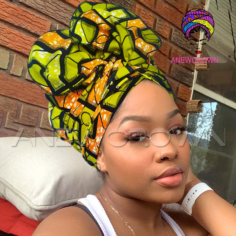 African Print Satin-Lined Yellow Square Wide Band Headwrap