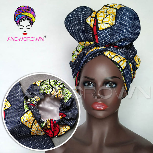 African Print Satin-Lined Corn Chips Wide Band Headwrap