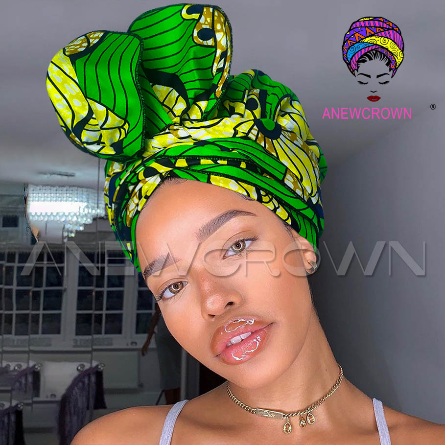 African Print Satin-Lined Yellow Windmill Wide Band Headwrap