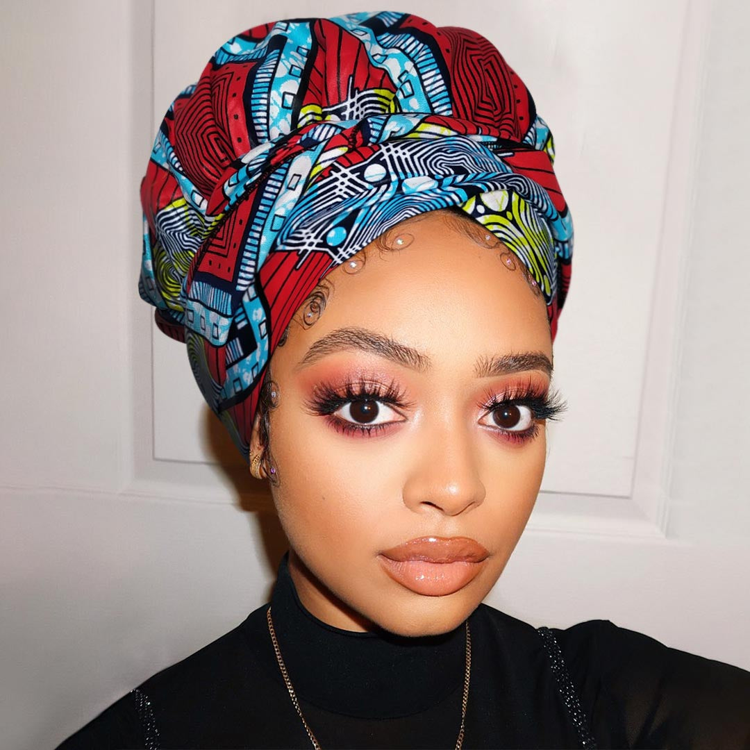 African Print Satin-Lined Morden Street Wide Band Headwrap