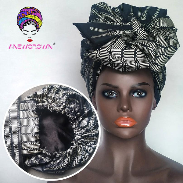 African Print Satin-Lined Mist Tube Wide Band Headwrap