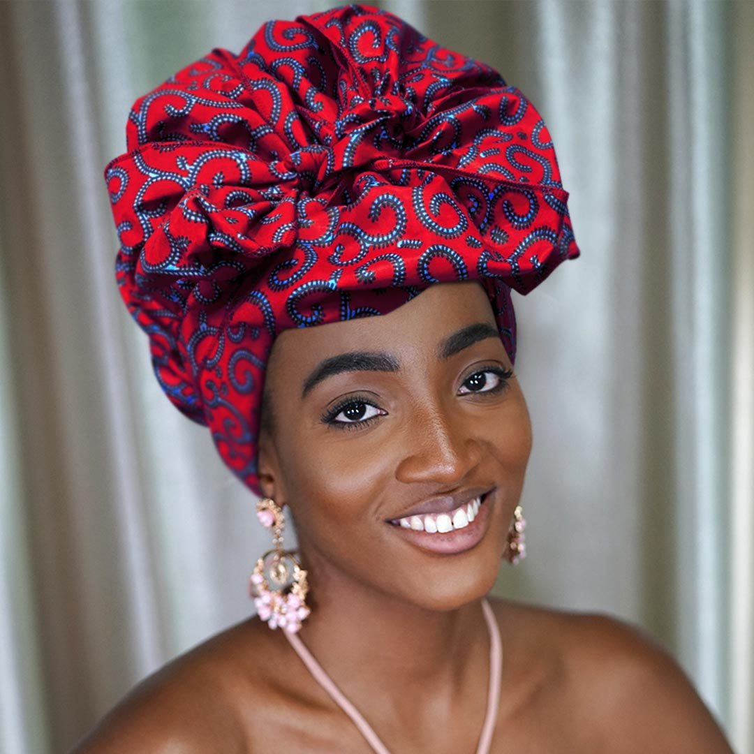 African Print Satin-Lined Medusa Wide Band Headwrap