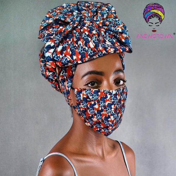 Afro Print Face Cover ( Satin-lined)-K1861