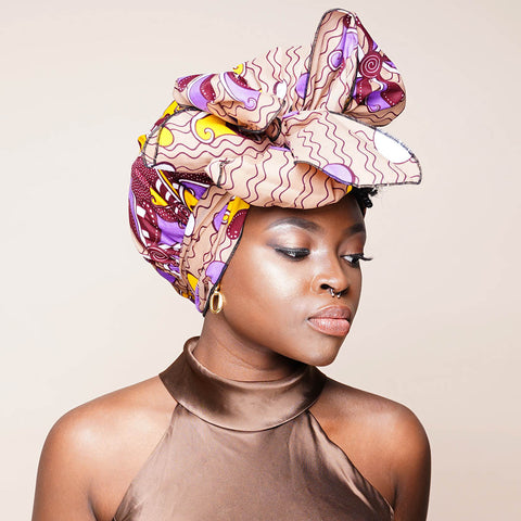 African Print Satin-Lined Colourful Headwrap AC1866