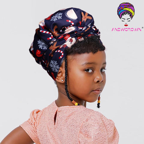 African Print Head Wrap With Satin-Lined For Girls- AC1875