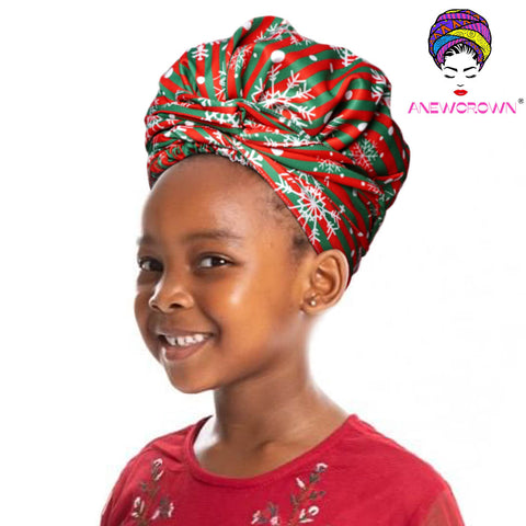 African Print Head Wrap With Satin-Lined For Girls- AC1876