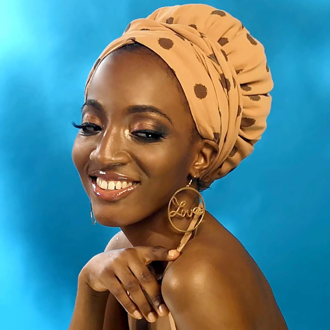 African Print Satin-Lined Apricot Speckle Polka Dots Headwrap