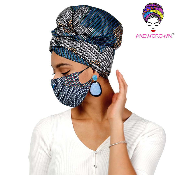 Afro Print Face Cover ( Satin-lined)-K1979