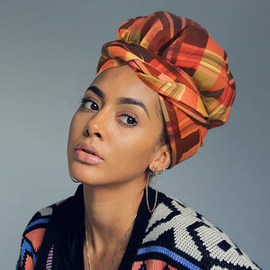 African Print Satin-Lined Orange Blush Silk Headwrap