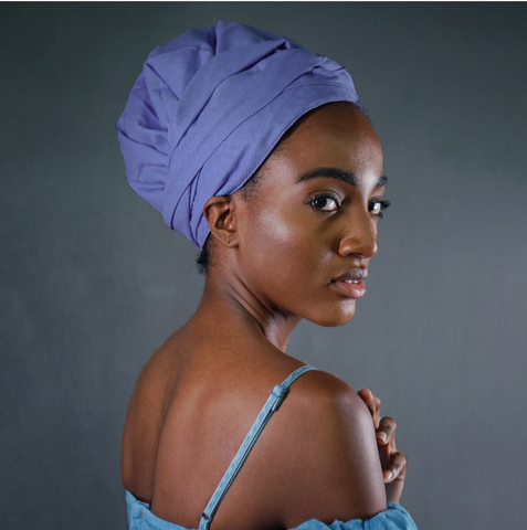 Solid Color Satin-Lined Lavender Blue Linen Cotton Headwrap