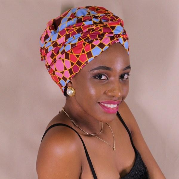 African Print Satin-Lined Pink Cubes Silk Headwrap