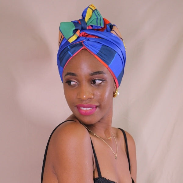 African Print Satin-Lined Blue Stacks Headwrap