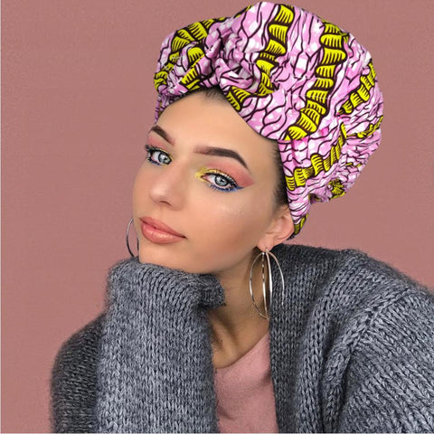 African Print Satin-Lined Pink Meets Yellow Nightcap