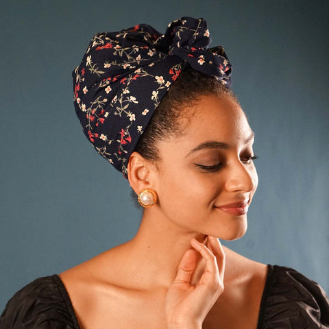 Easy To Tie Up/Flower Print Headwrap (Wired)