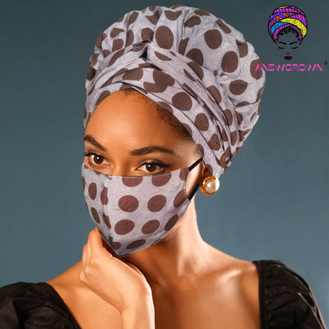 Afro Print Face Cover ( Satin-lined)-K1147