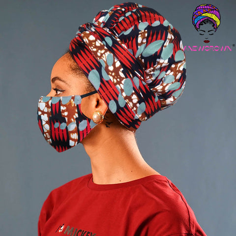 Afro Print Face Cover ( Satin-lined)-K1863