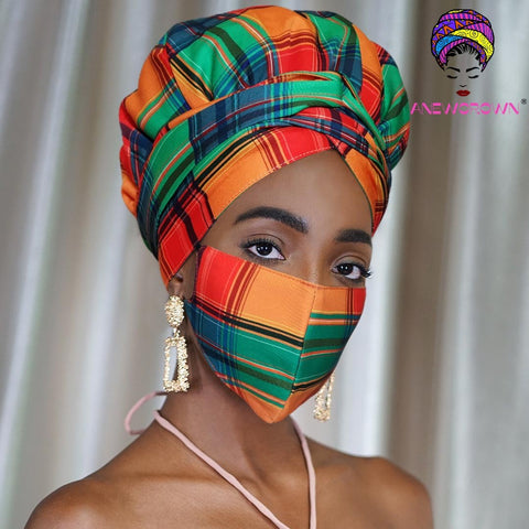 Afro Print Face Cover ( Satin-lined)-K1993