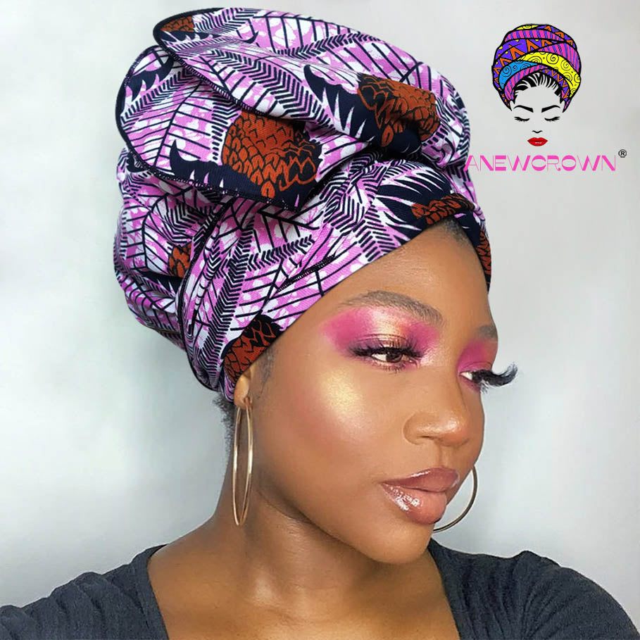 African Print Satin-Lined Pinecones Wide Band Headwrap AC1864