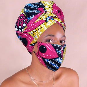 African Print Headwrap with Satin-Lined AC1217