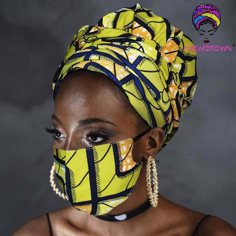 Afro Print Face Cover ( Satin-lined)-K1855