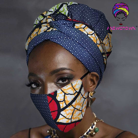 Afro Print Face Cover ( Satin-lined)-K1856