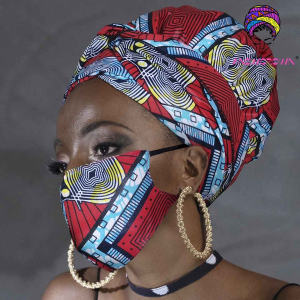 Afro Print Face Cover ( Satin-lined)-K1858