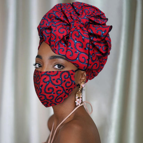African Print Satin-Lined Medusa Wide Band Headwrap AC1860