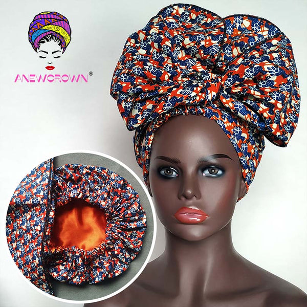 African Print Satin-Lined Sunset Shadow Wide Band Headwrap