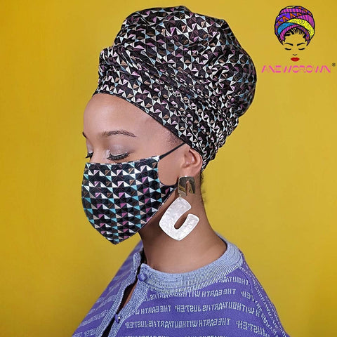 Afro Print Face Cover ( Satin-lined)-K1145