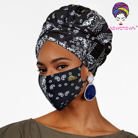 African Printing Face Cover ( Satin-lined)-K1133