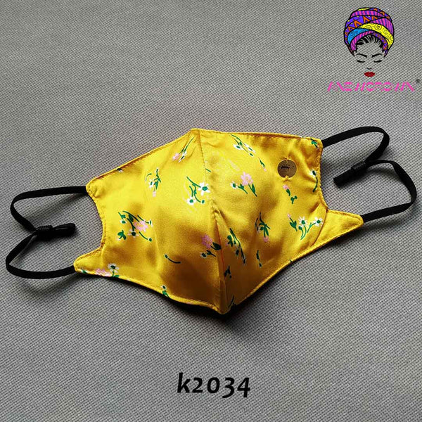 Afro Print Face Cover ( Satin-lined)-K2034