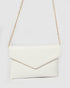 White Saffiano Samantha Clutch Bag