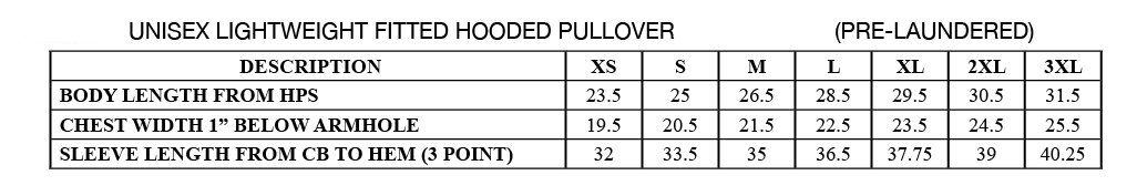 Sizing chart for Hooded Sweatshirts