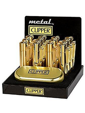 Clipper Full Metal Gold Lighter With Case (12 Count)
