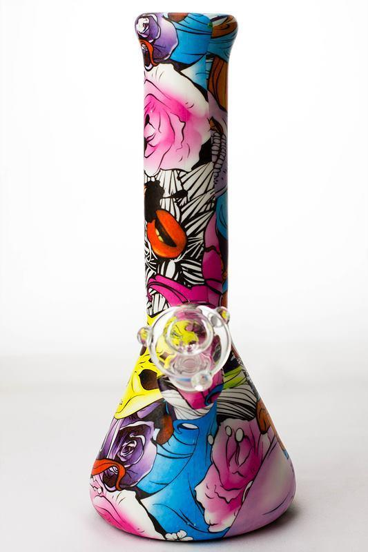 "12"" graphic design printed silicone classic water bong"
