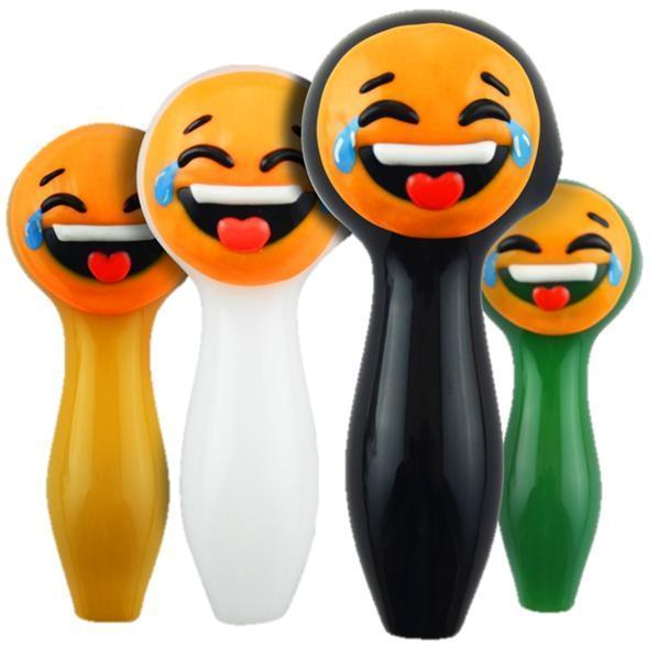 "4"" ""LOL Emoji"", Glow in the Dark Spoon Hand Pipe"