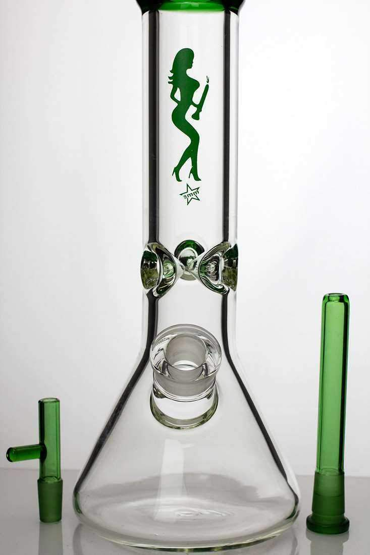 "12"" heavy glass beaker water bong"