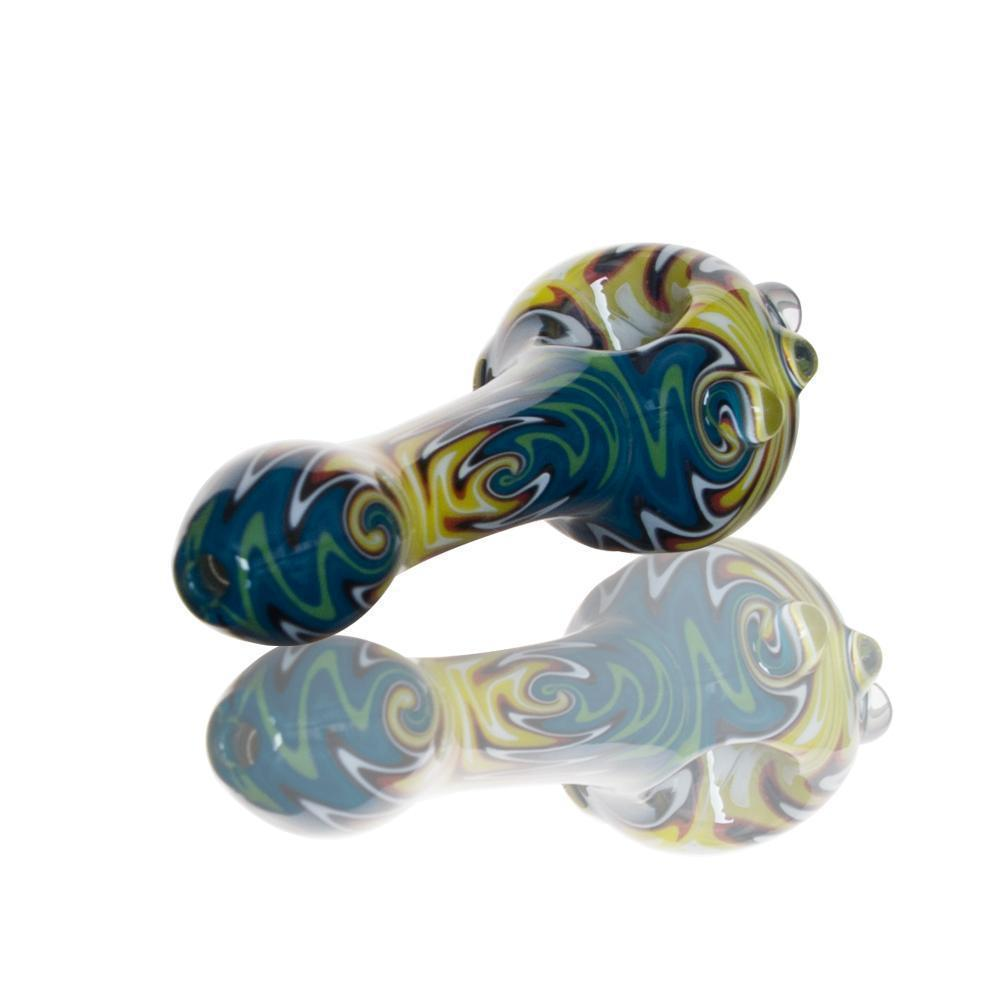 Hand Pipe Made in Glass Mixed Colors Yellow, Blue, Green, With Glass Details