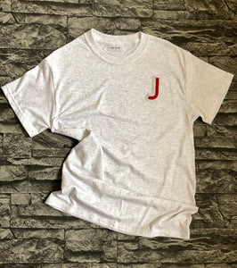 Varsity style Initial T-shirt in Grey/ Cherry