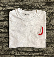 Load image into Gallery viewer, Varsity style Initial T-shirt in Grey/ Cherry