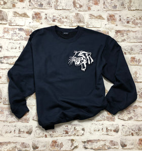 Navy Leopard Head Sweatshirt - Embroidered