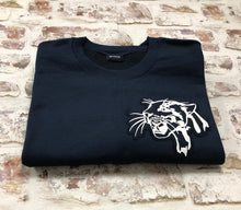Load image into Gallery viewer, Navy Leopard Head Sweatshirt - Embroidered