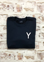 Load image into Gallery viewer, Varsity style initial Sweatshirt with White Vinyl