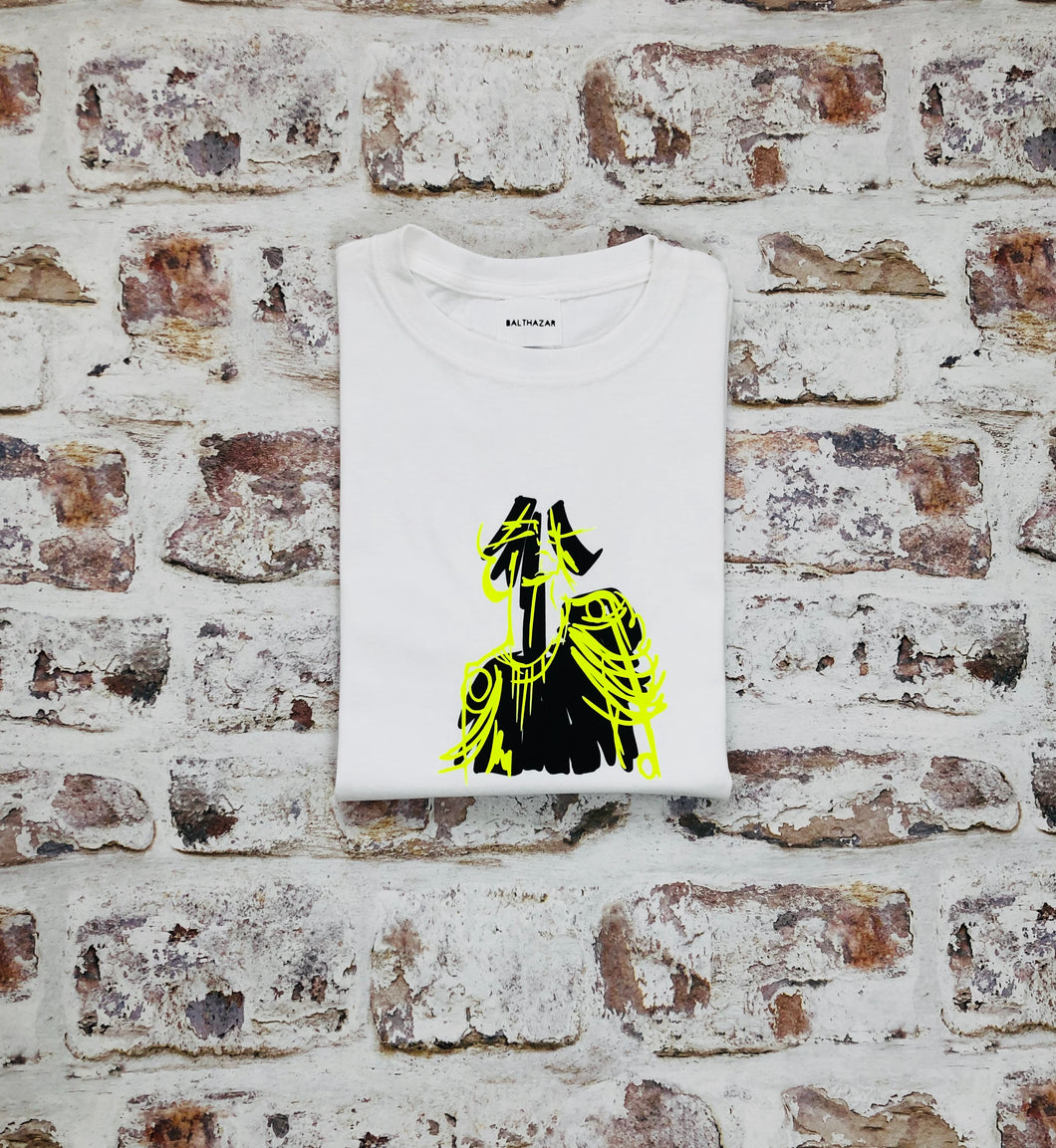 Yellow Neon Commander doll head t-shirt