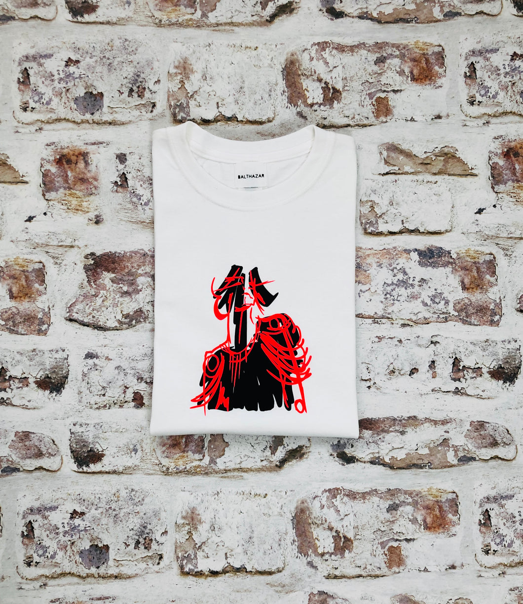 Red Neon Commander doll head t-shirt